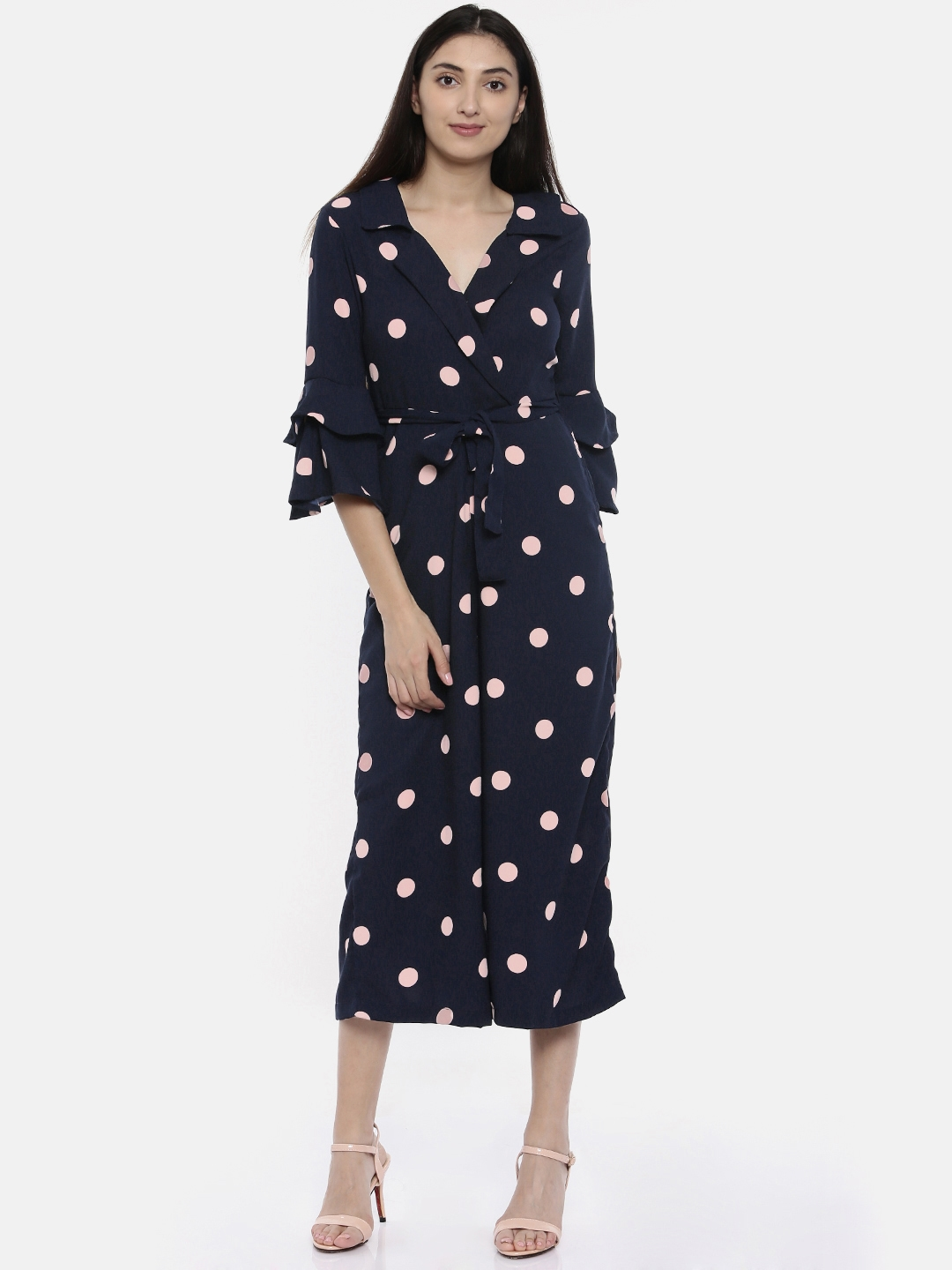 7ab6b6cdc8b Buy CODE By Lifestyle Navy Blue   Pink Printed Culotte Jumpsuit ...
