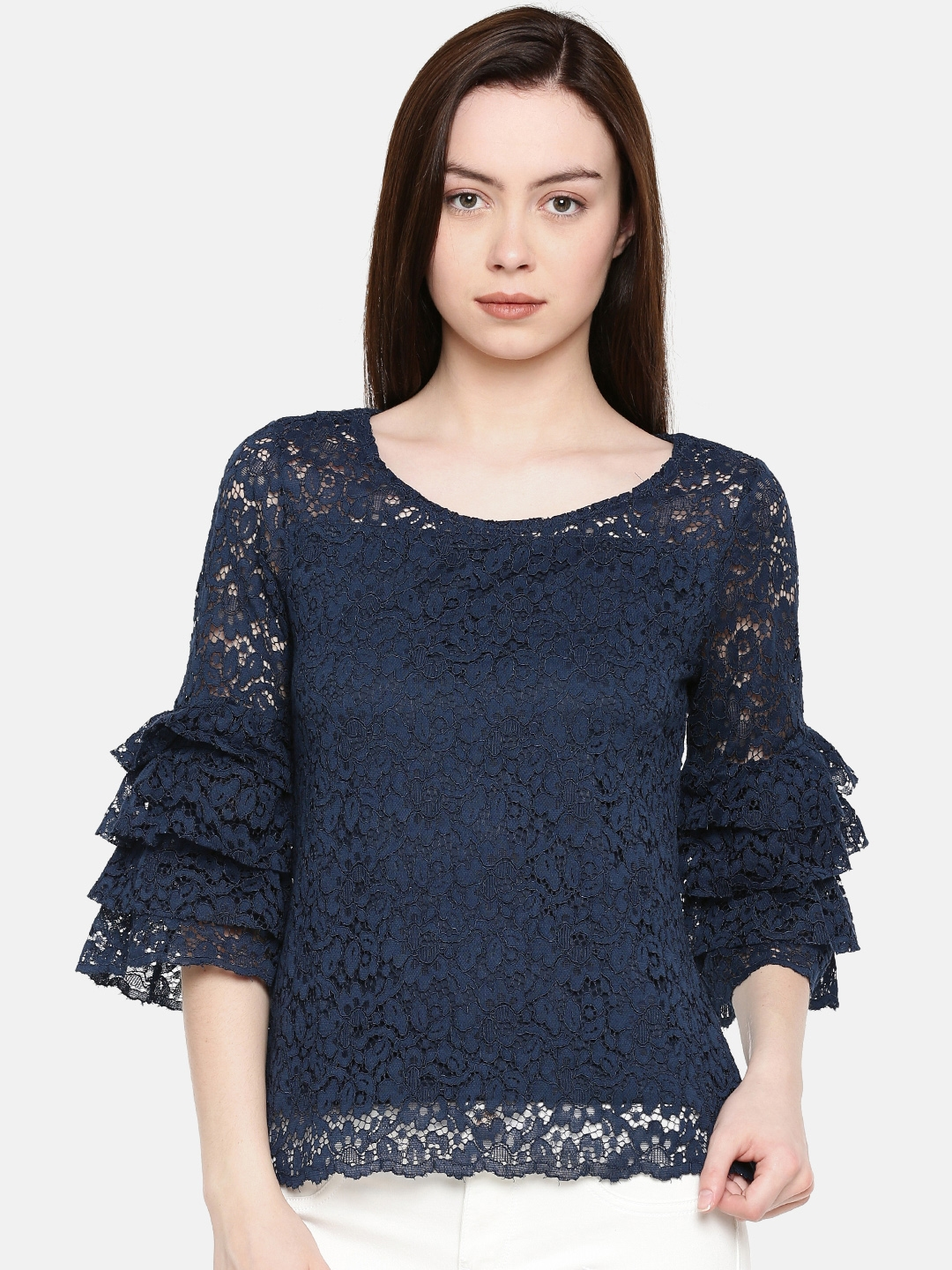 d498a2aaf7 Buy CODE By Lifestyle Women Navy Blue Self Design Lace Top - Tops ...