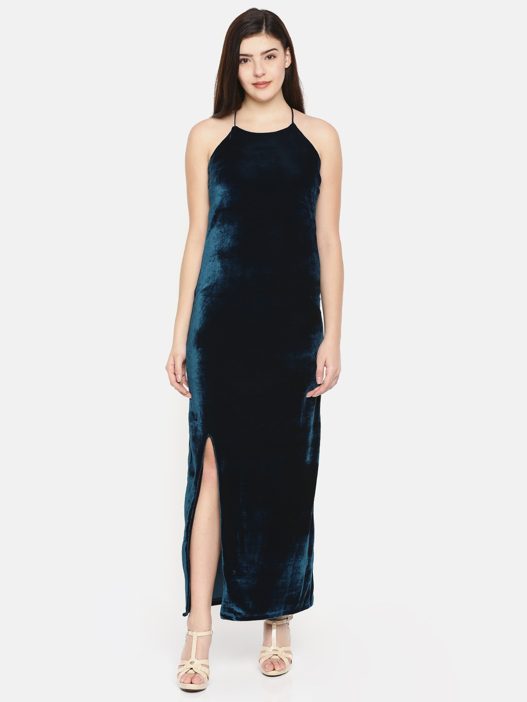 7f3fd194db53 Buy CODE By Lifestyle Women Teal Blue Solid Velvet Maxi Dress ...