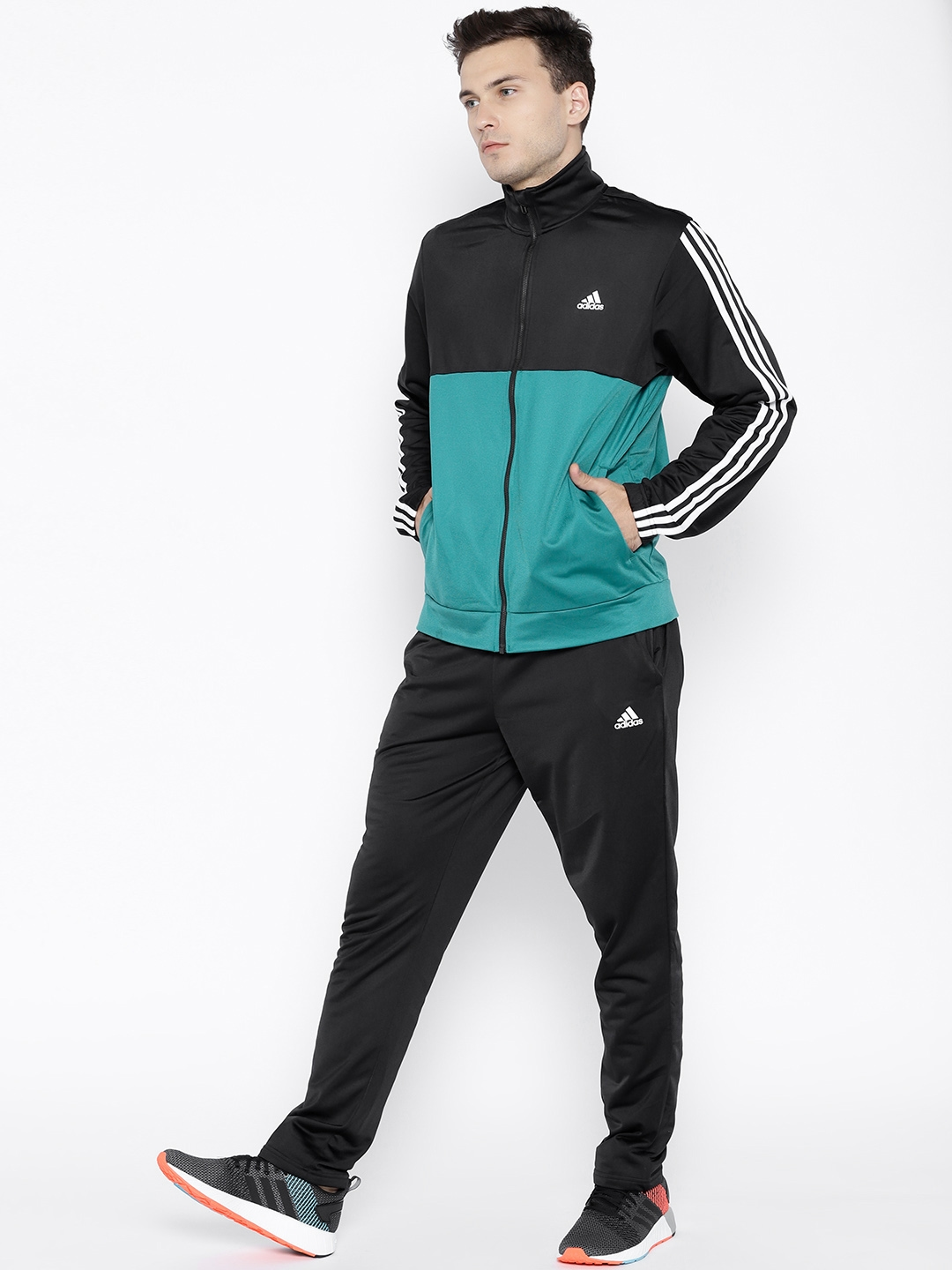 798dd865de94 Buy ADIDAS Men Black   Green Back To Basics 3 Stripes Training ...