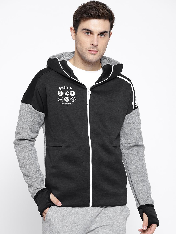 2c1f9cfabc5 ADIDAS Men Black   Grey Melange Solid Z.N.E Fast Release Hooded Sweatshirt