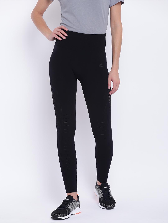 22126d15cc3 Buy ADIDAS Women Black Solid Warp Knit High Rise 7/8 Training Tights ...