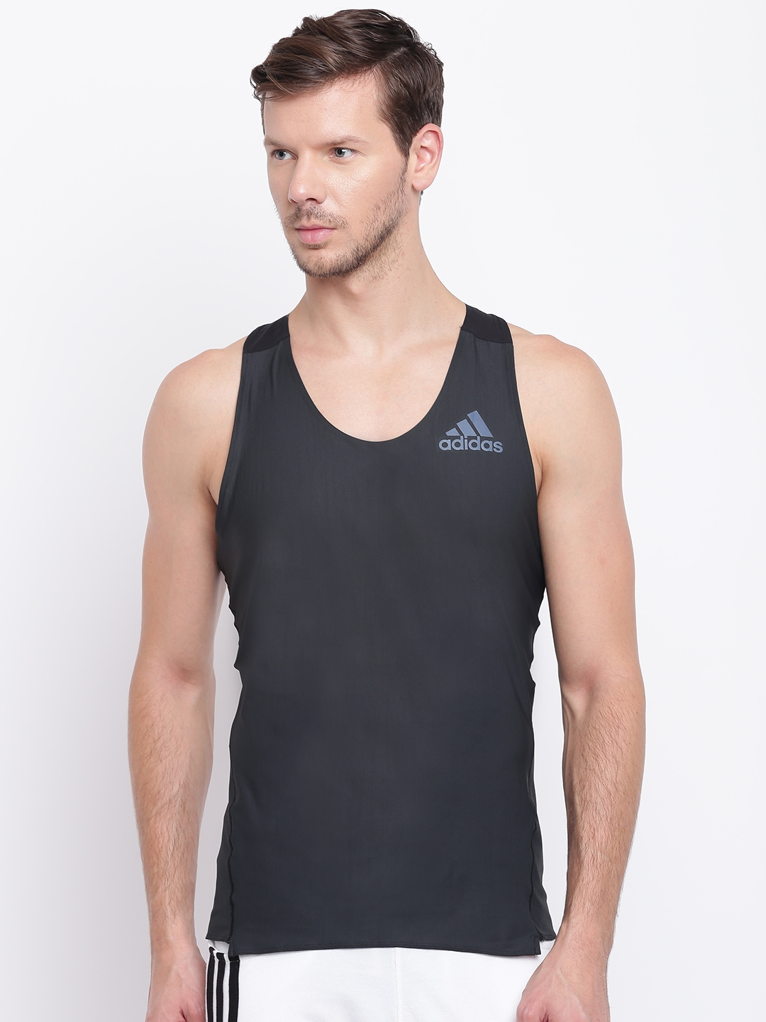 0ac7b846e Buy ADIDAS Men Black Adizero Prime Singlet Solid Round Neck Running ...