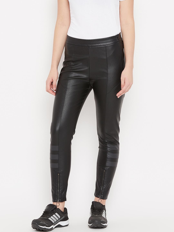 b5755d46db0bb Buy ADIDAS Originals Women Black Slim Fit Faux Leather Track Pants ...