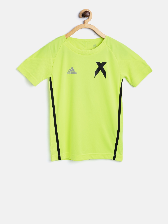 f5531444c091 Buy ADIDAS Boys Fluorescent Green YB X Jersey Back Print T Shirt ...
