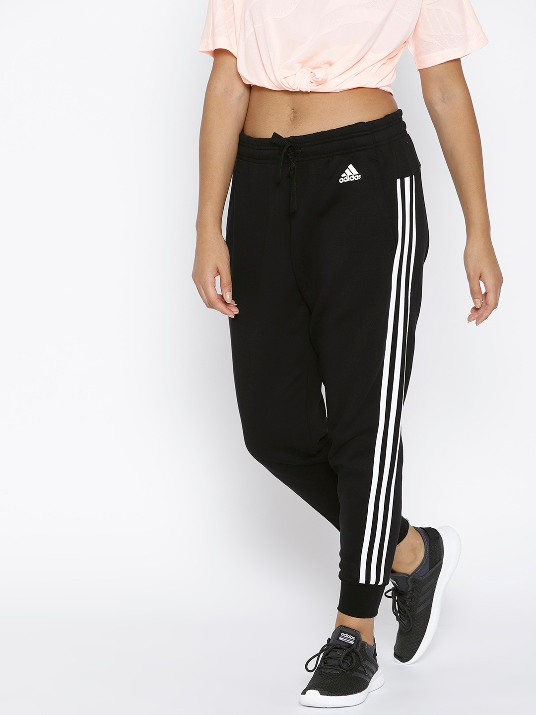 0a6575d0d Buy ADIDAS Women Black Solid Essentials 3S Tapered Training Joggers ...