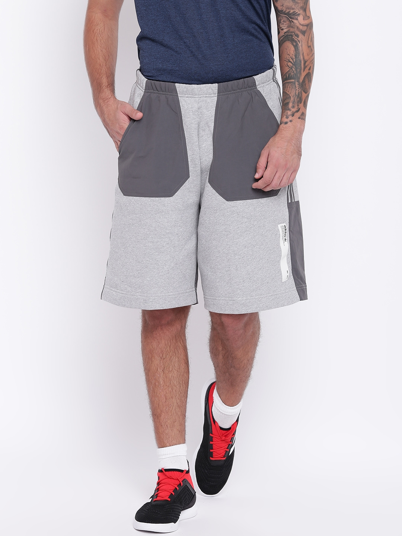 ad0cd48112741 Buy ADIDAS Men Grey Melange Colourblocked Nmd Shorts - Shorts for ...
