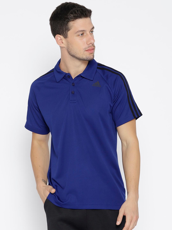 ee5b05f8e5a1c2 Buy ADIDAS Men Blue D2M 3 Striped Polo Training T Shirt - Tshirts ...