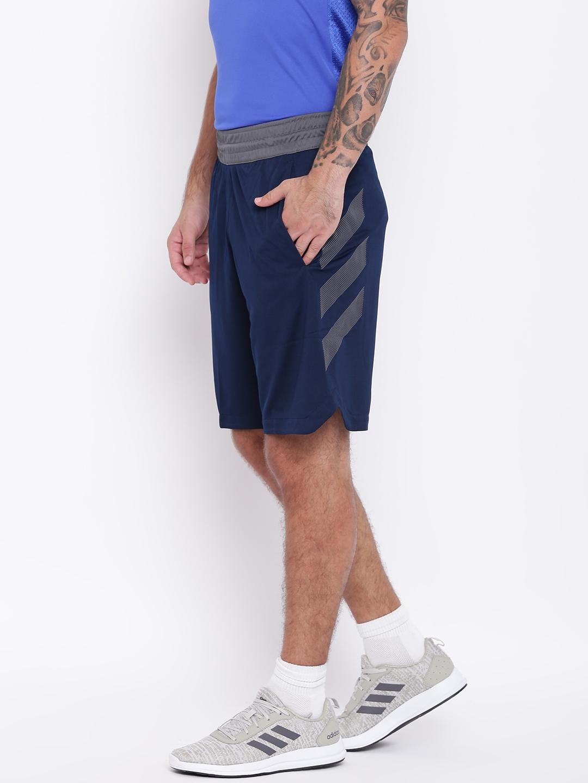 c8040dd98f3f Buy ADIDAS Men Navy Blue Accelerate 3 Stripes Basketball Shorts ...