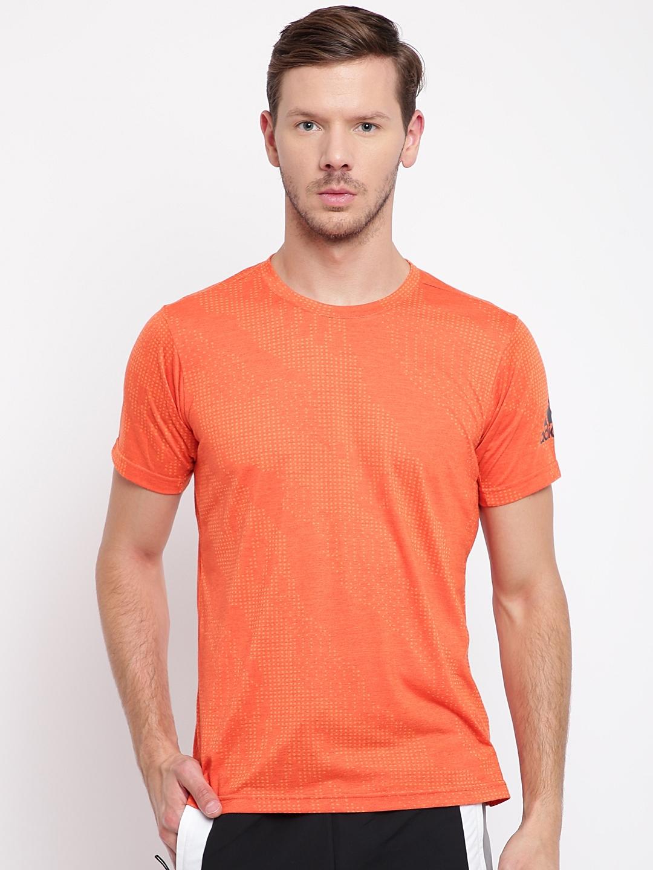 e21284b8 ADIDAS Men Orange FreeLift Aeroknit Printed Round Neck Training T-shirt