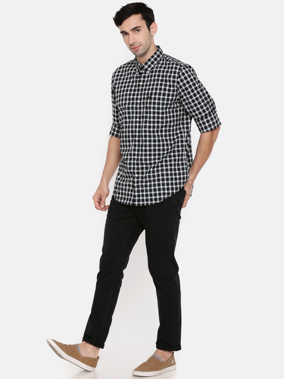 88433611 Buy AMERICAN EAGLE OUTFITTERS Men Black & White Checked Casual Shirt ...