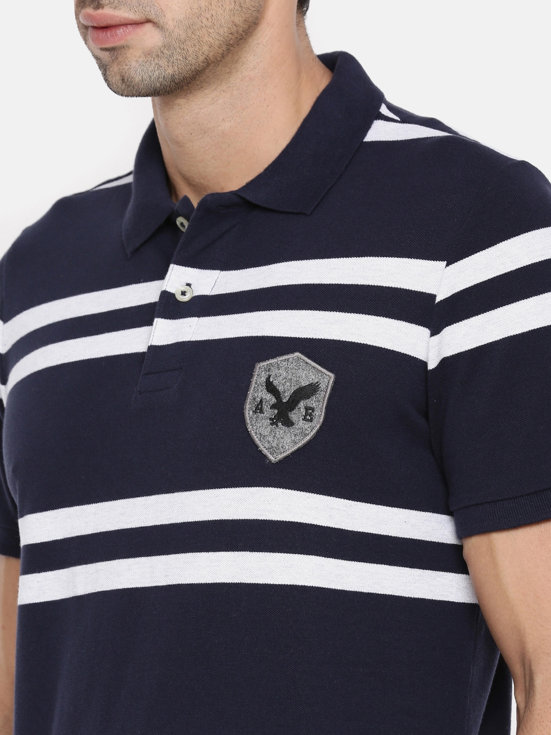 123561748f6 Buy AMERICAN EAGLE OUTFITTERS Men Navy Blue Striped Polo Collar T ...