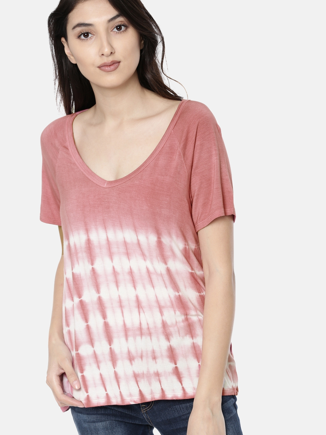 6327a586 AMERICAN EAGLE OUTFITTERS Women Pink Dyed V-Neck T-shirt