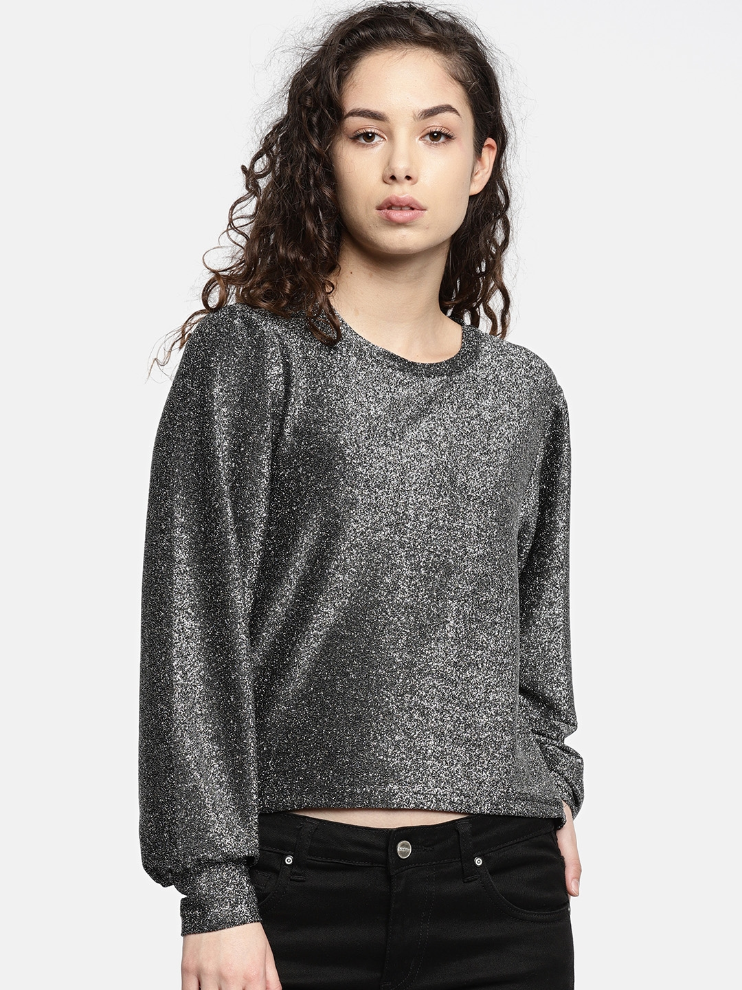 e9b84cc717f71 Buy Deal Jeans Women Charcoal Grey Shimmer Top - Tops for Women ...