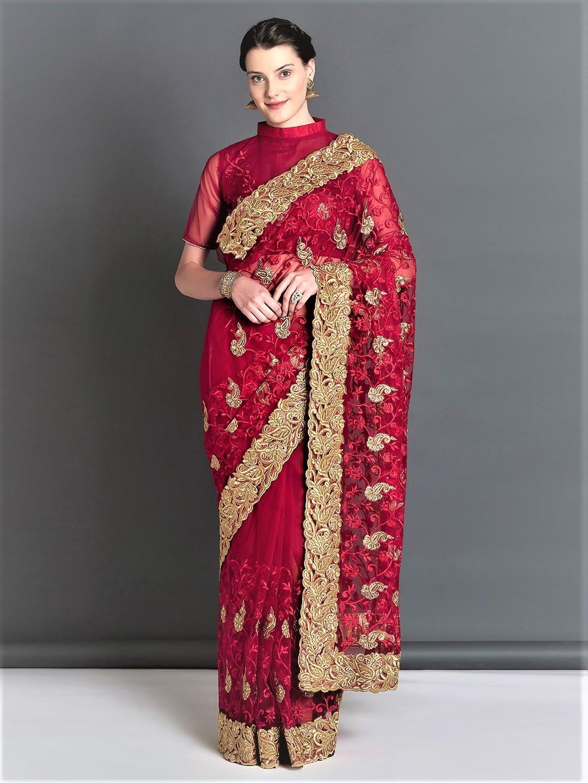 772966e7658816 Mitera Red Embroidered Net Saree