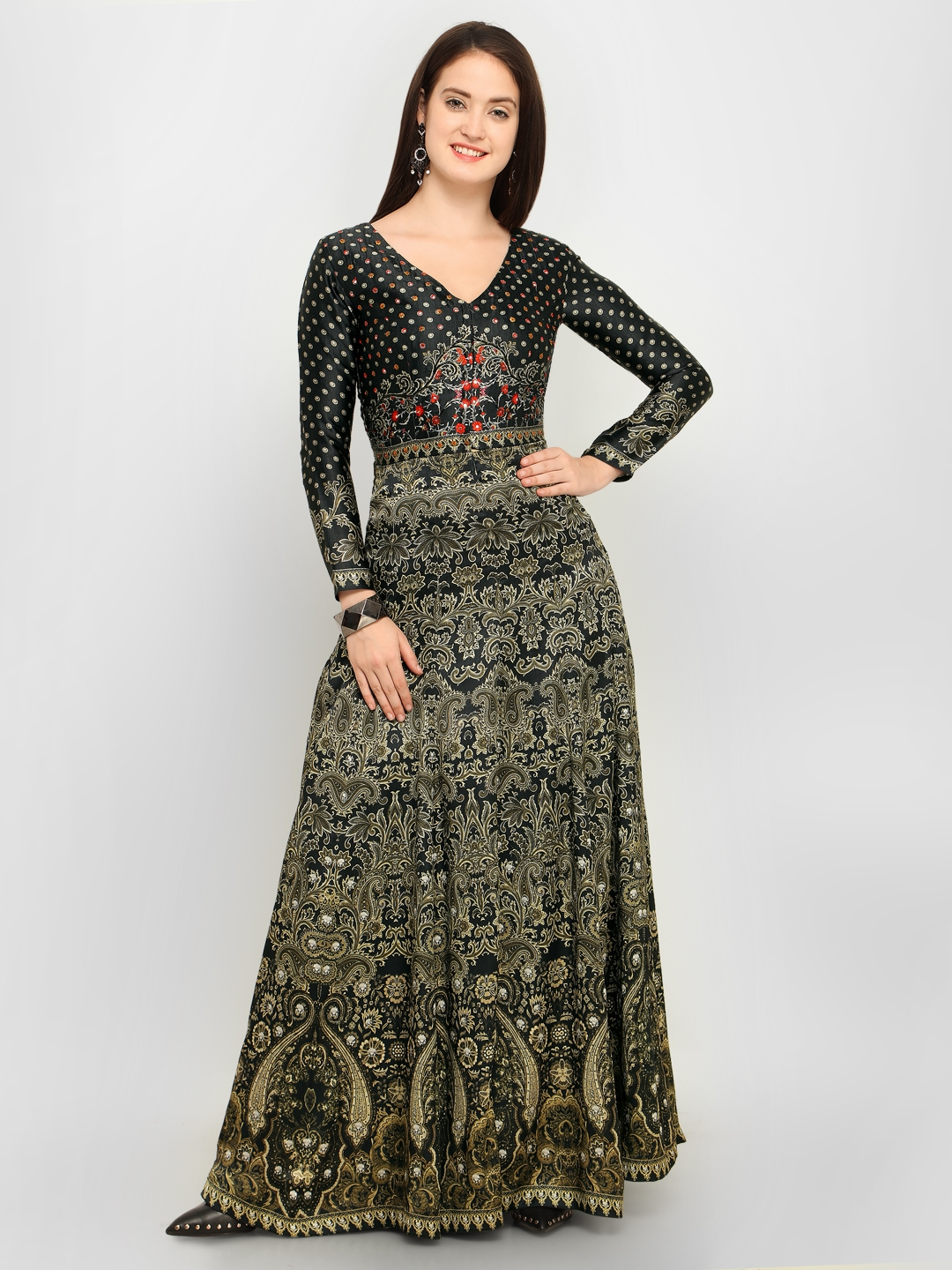 ec3deaf57482d5 Stylee LIFESTYLE Black & Beige Satin Semi-Stitched Gown Dress Material