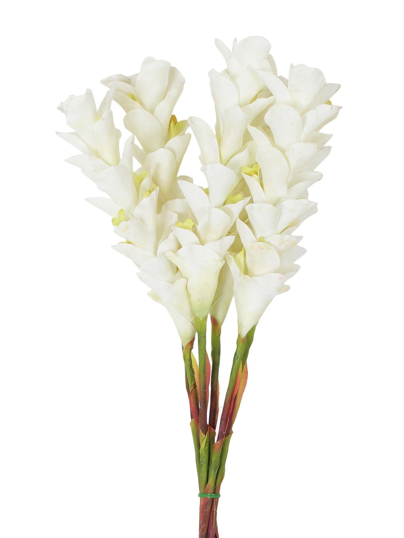 Buy Fourwalls Set Of 6 White Artificial Ginger Flower Sticks