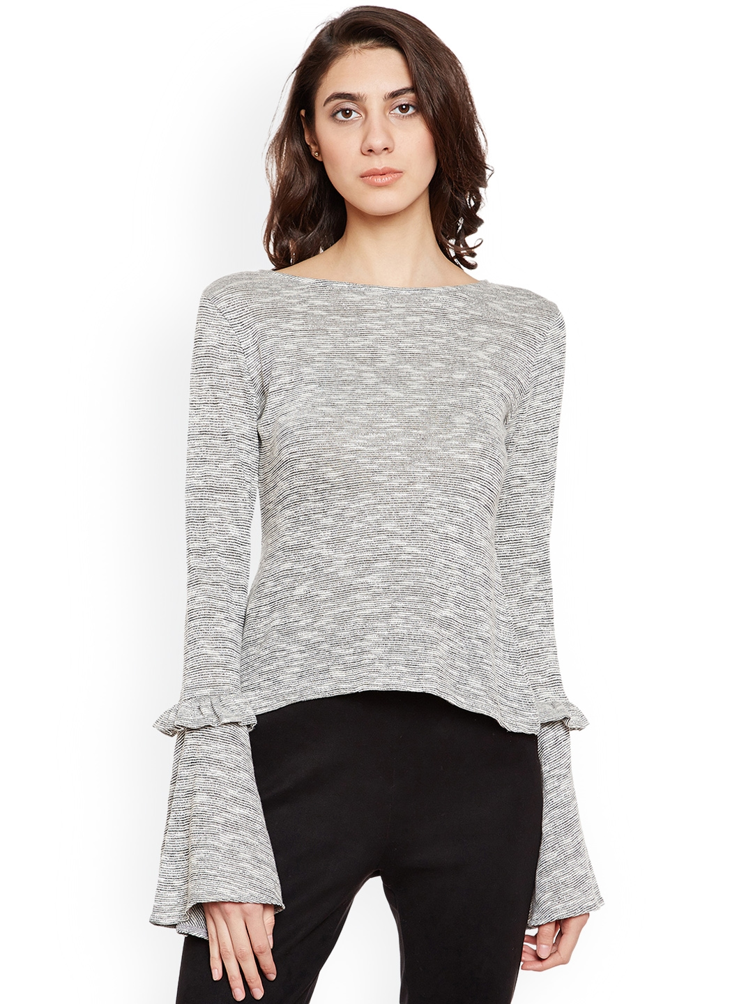 PRIMO KNOT Women Grey Self Design Fitted Top