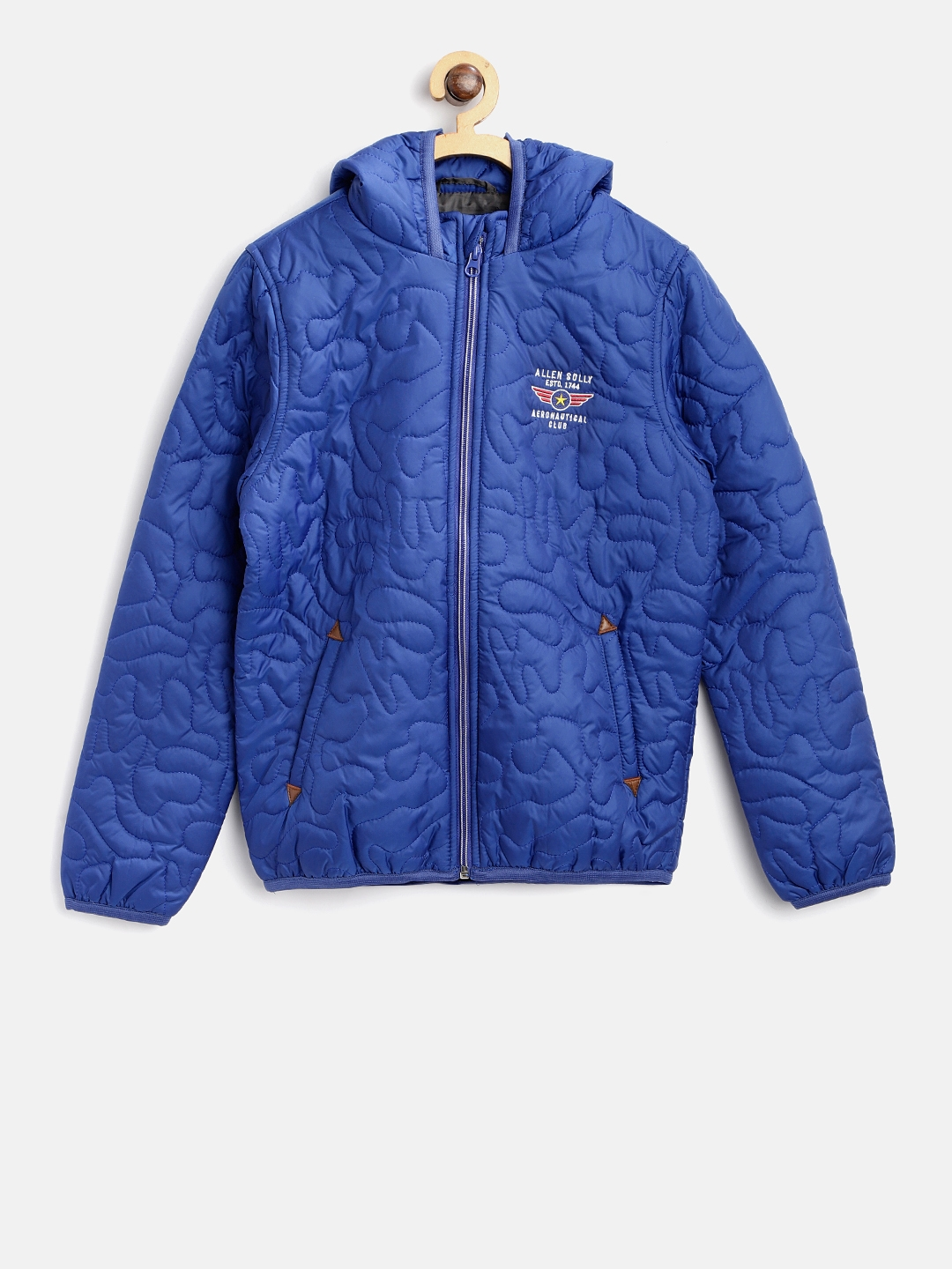 d826987b7 Buy Allen Solly Junior Boys Blue Hooded Quilted Jacket - Jackets for ...