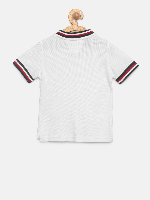 db6eec6b64d604 Buy Tommy Hilfiger Boys White Solid Mandarin Collar T Shirt ...