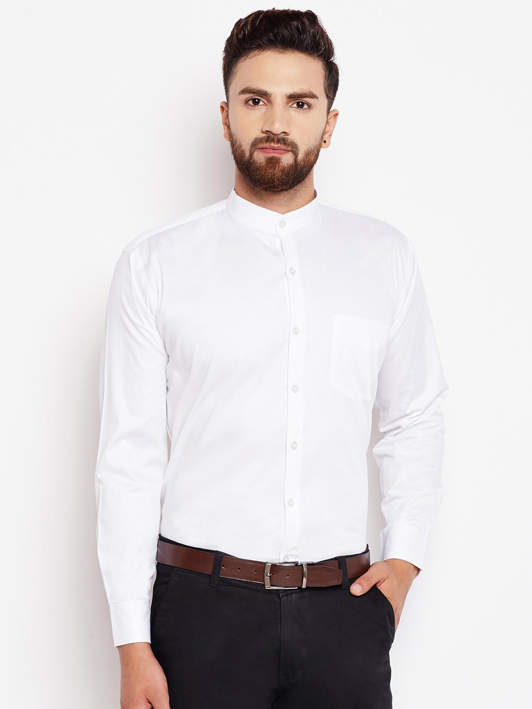 Hancock Men White Solid Formal Shirt