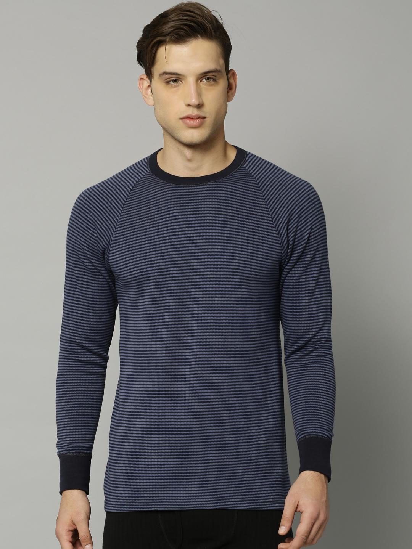 f56ce40af769 Buy Marks & Spencer Men Blue & Black Striped Thermal Top - Thermal ...