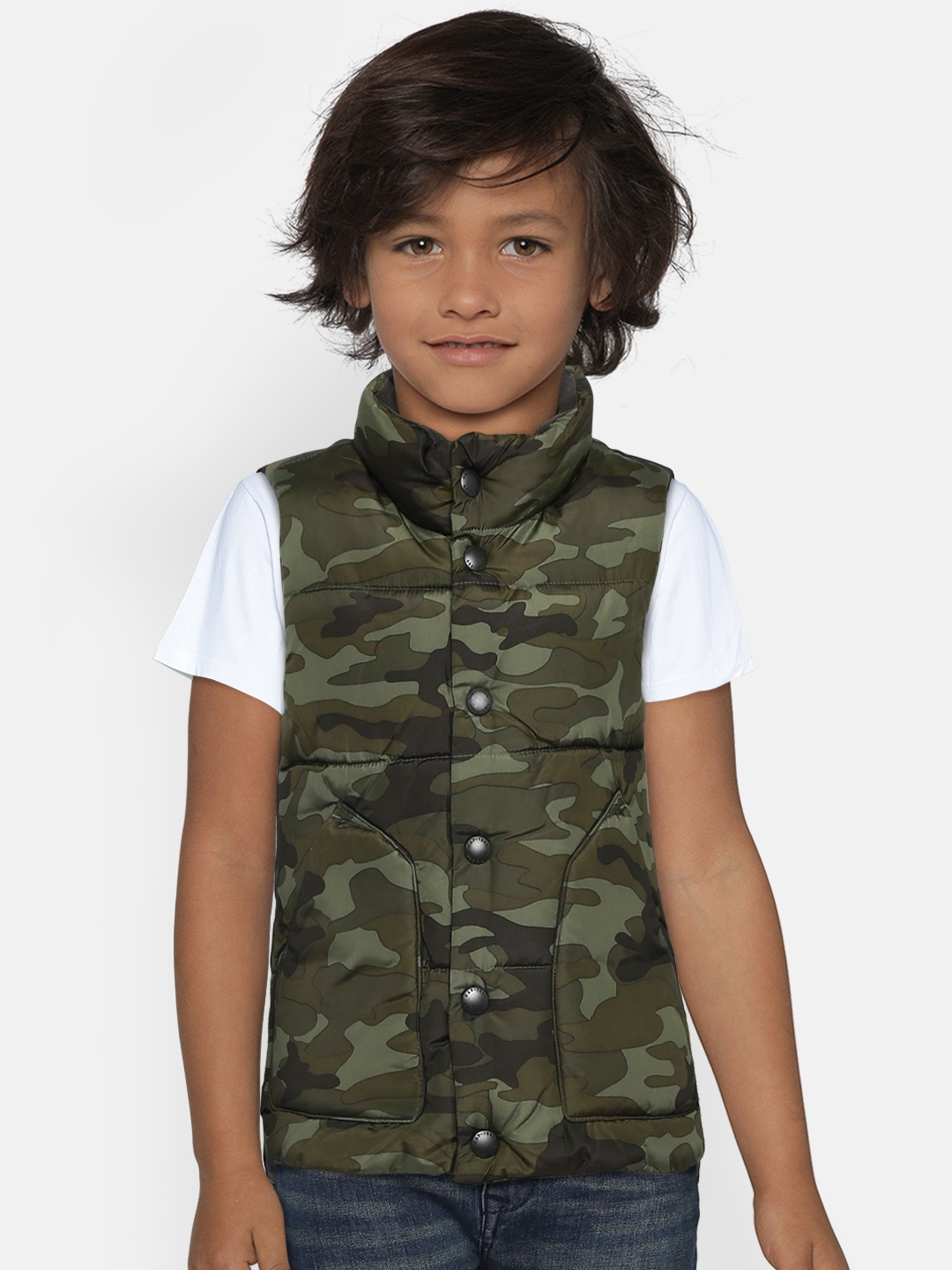 276d08d3410f9 Buy GAP Boys' Green Camouflage Puffer Vest - Jackets for Boys ...
