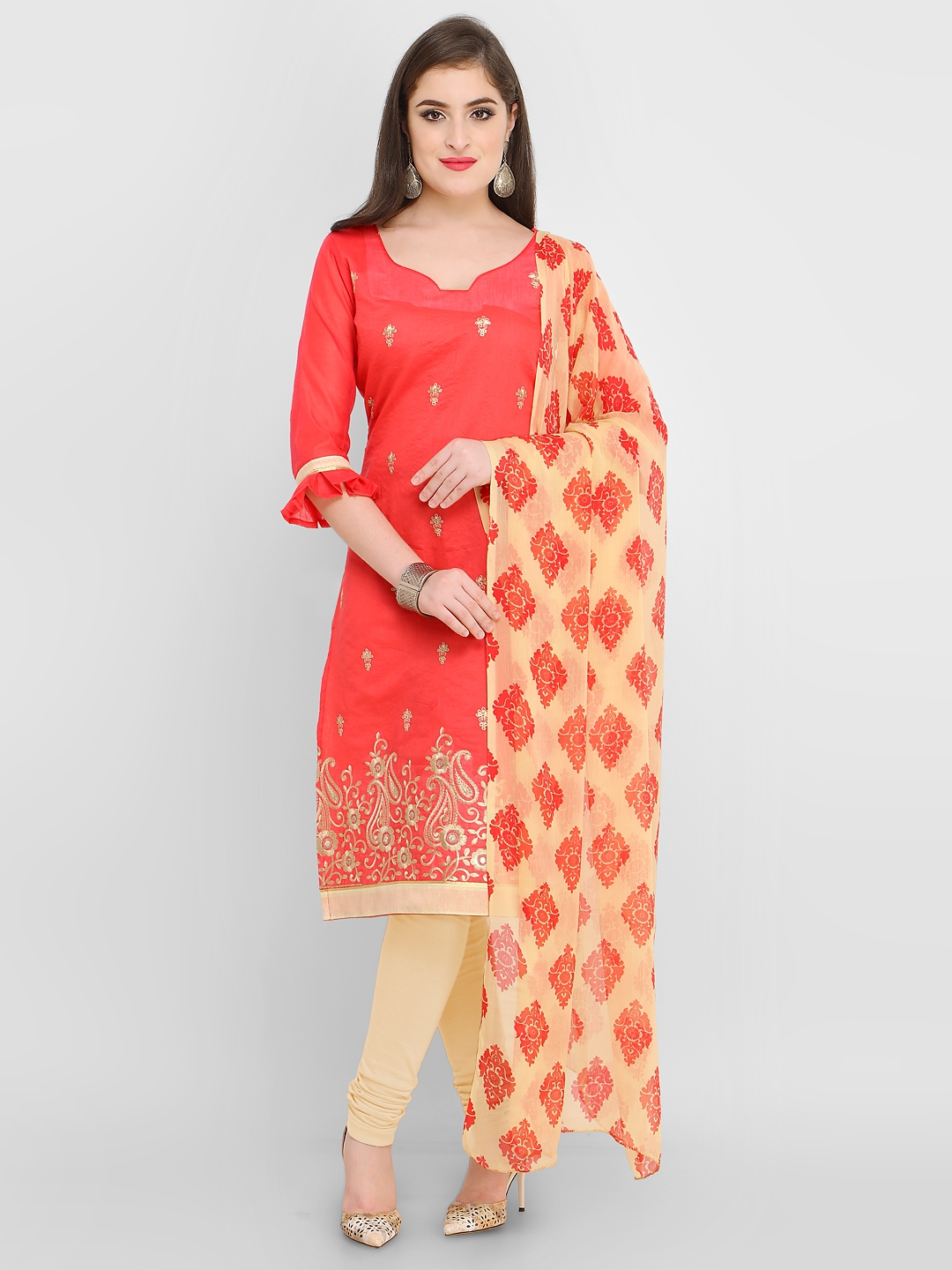 Rajnandini Peach Coloured Embroidered Chanderi Cotton Blend Unstitched Dress Material