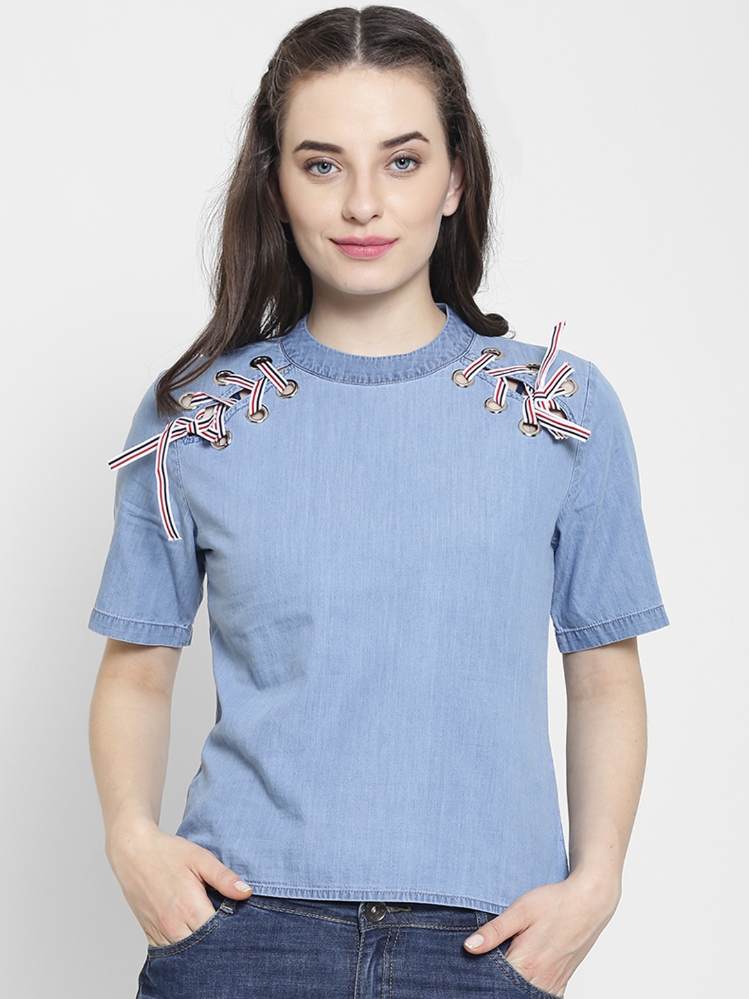 15cddceadd8 Buy Madame Women Blue Solid Chambray Top - Tops for Women 7119264 ...