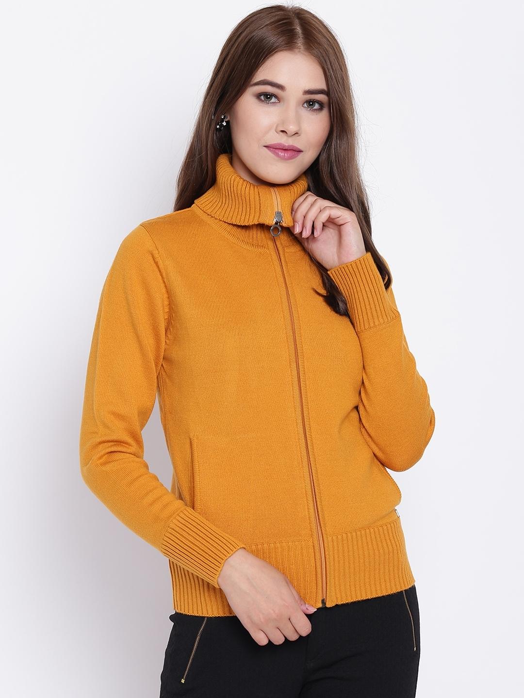 Buy Madame Women Mustard Yellow Solid Cardigan Sweaters For Women