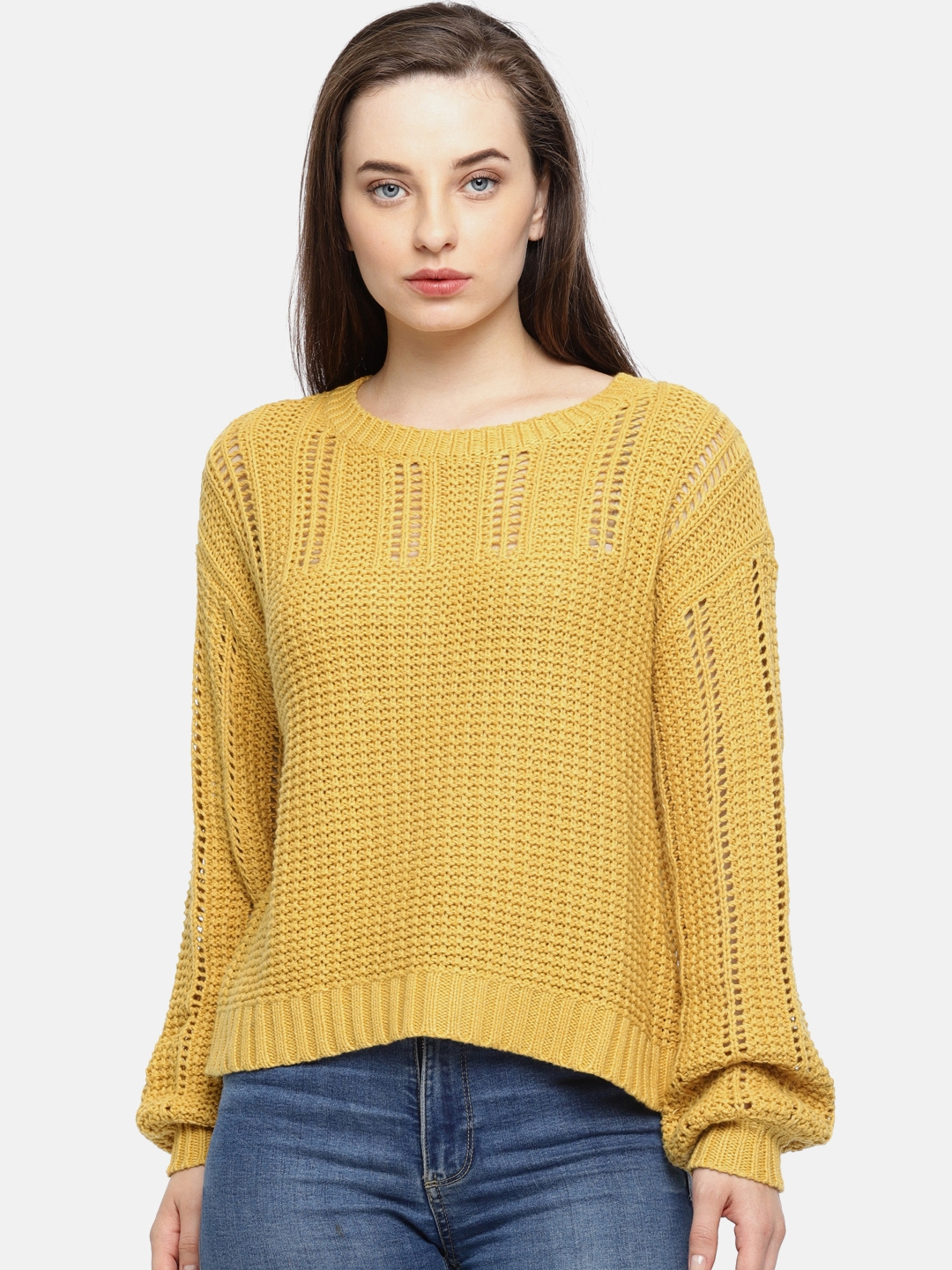 AMERICAN EAGLE OUTFITTERS Women Mustard Yellow Self Design Pullover cc7fdc6d0