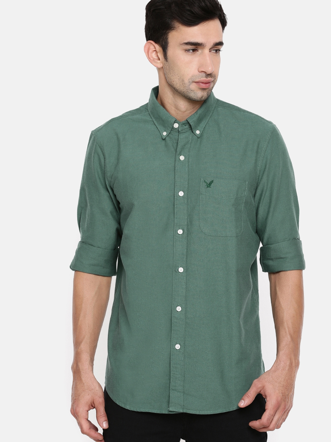 c296807ebf Buy AMERICAN EAGLE OUTFITTERS Men Green Slim Fit Solid Casual Shirt ...