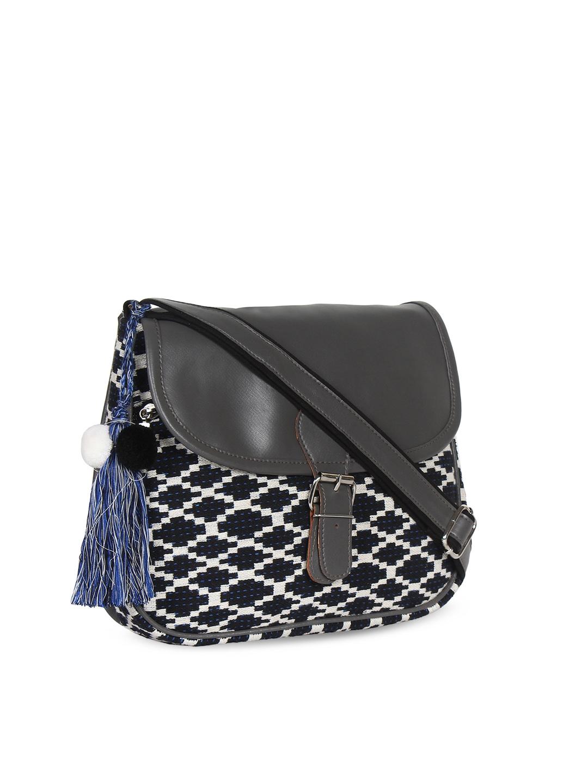 7e863b86b7 Buy Anekaant Black   White Self Design Sling Bag - Handbags for ...