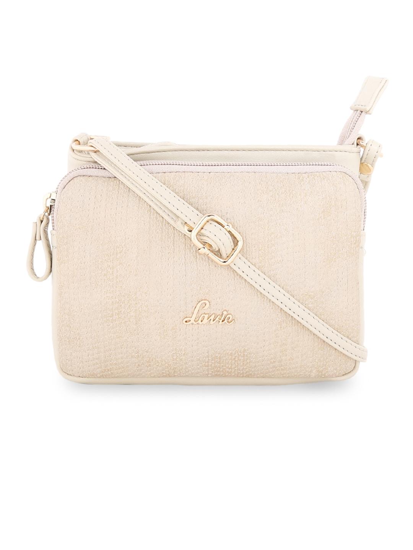6d4f79bcd55 Buy Lavie Beige Self Design Sling Bag - Handbags for Women 7130612 ...