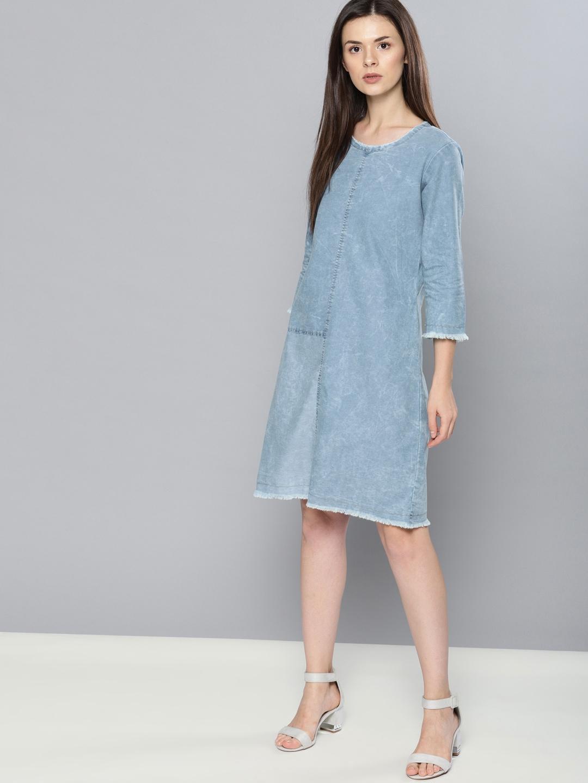 dc34f6b4832 Buy NUSH Women Blue Faded A Line Denim Dress - Dresses for Women ...