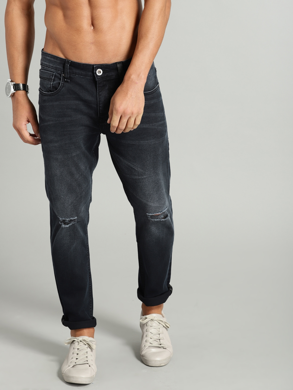 bfd52afe274 Roadster Men Black Skinny Fit Mid-Rise Mildly Distressed Stretchable Jeans