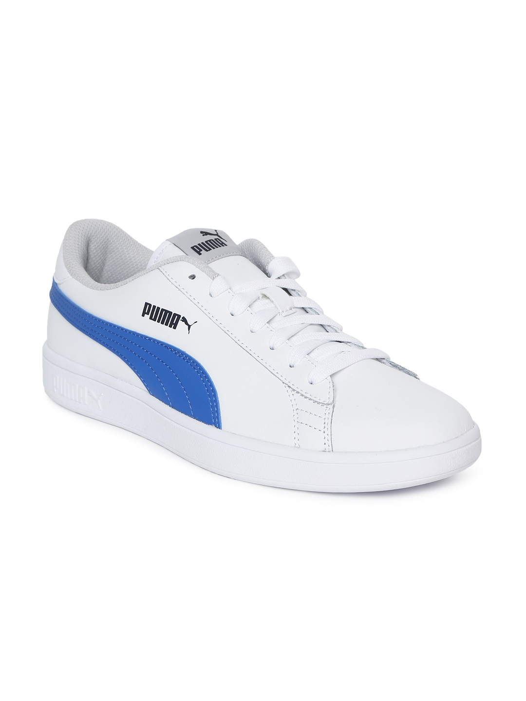 Buy Puma Kids White   Blue Colourblocked Smash V2 L Junior Sneakers ... 0a4fe65e8