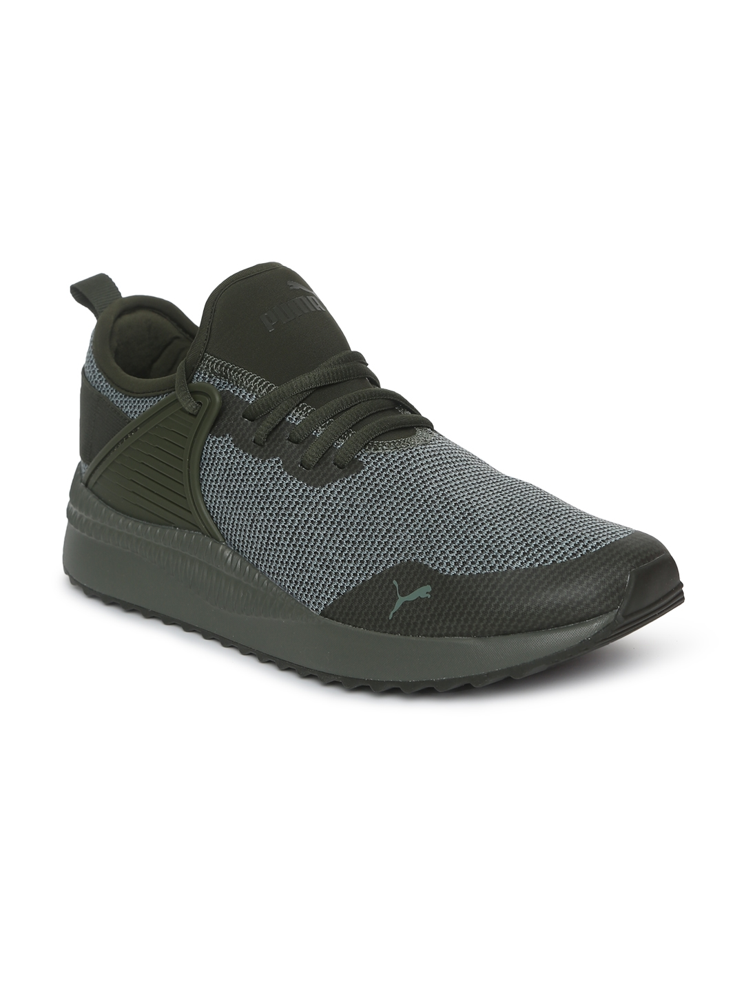 Puma Kids Grey   Olive Green Colourblocked Pacer Next Cage Knitted Sneakers bf623acca