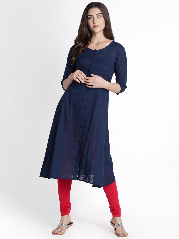 765dee063dd Buy RANGMANCH BY PANTALOONS Women Navy Blue Solid A Line Kurta ...