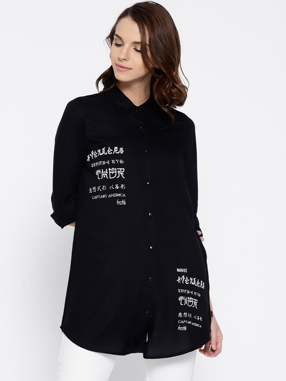 a1a377f8 Kook N Keech Marvel Women Black Printed Regular Fit Casual Longline Shirt
