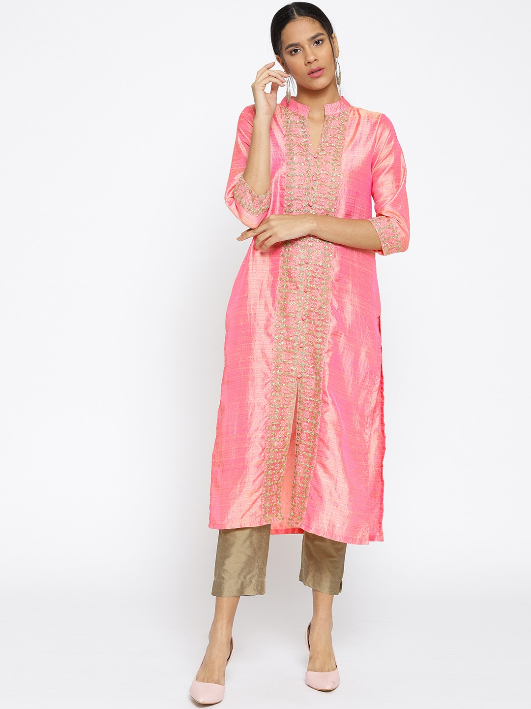 3557cddc752f Celestial Mode Women Pink & Golden Dual-Toned Embroidered Straight Kurta