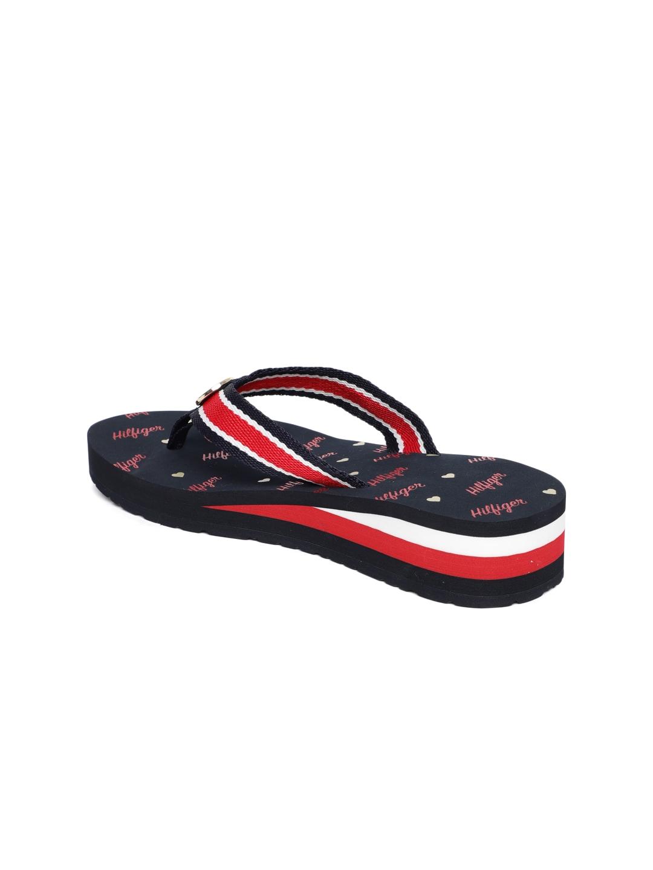 2e35b430d2309 Buy Tommy Hilfiger Women Navy Blue   Red Striped Heeled Thong Flip ...