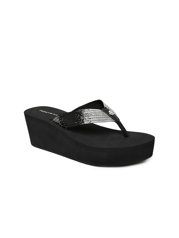 df9c88075916 Buy Tommy Hilfiger Women Black   Silver Toned Heeled Thong Flip ...