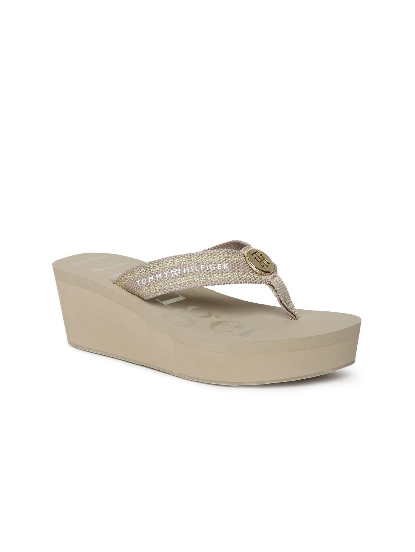 16e89c6a232 Buy Tommy Hilfiger Women Beige Woven Design Wedges - Heels for Women ...
