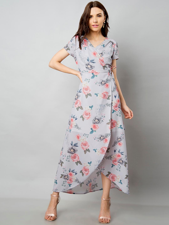 53cdf18a798 Buy FabAlley Women Blue Printed Wrap Dress - Dresses for Women ...