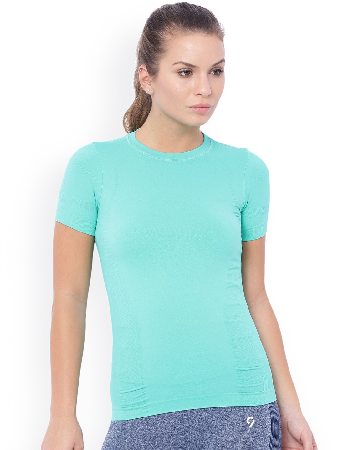af3584e982d9 Buy C9 Women Sea Green Solid Round Neck T Shirt - Tshirts for Women ...