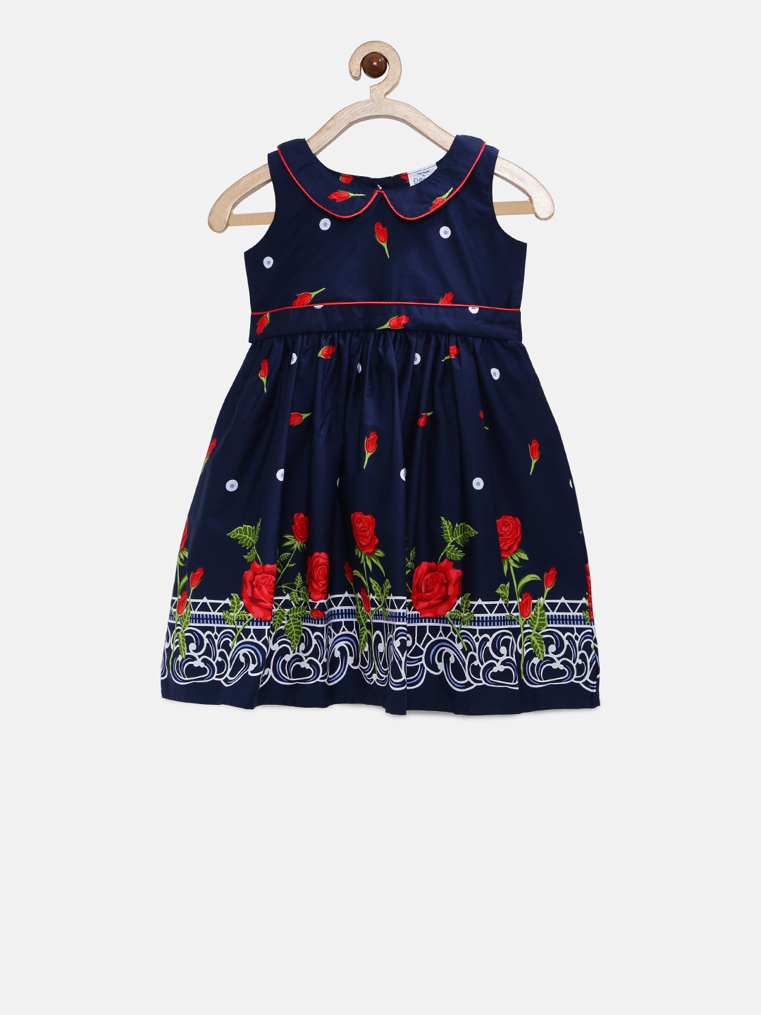 899fb00b2 Buy Doodle Girls Navy Blue Printed Fit And Flare Dress - Dresses for ...