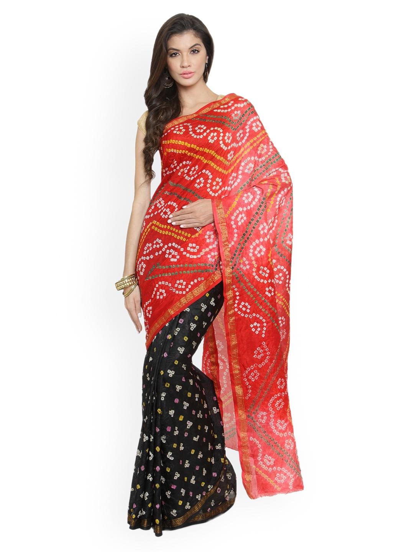 d33c8f9257 Buy Geroo Jaipur Red & Black Art Silk Printed Bandhani Saree ...