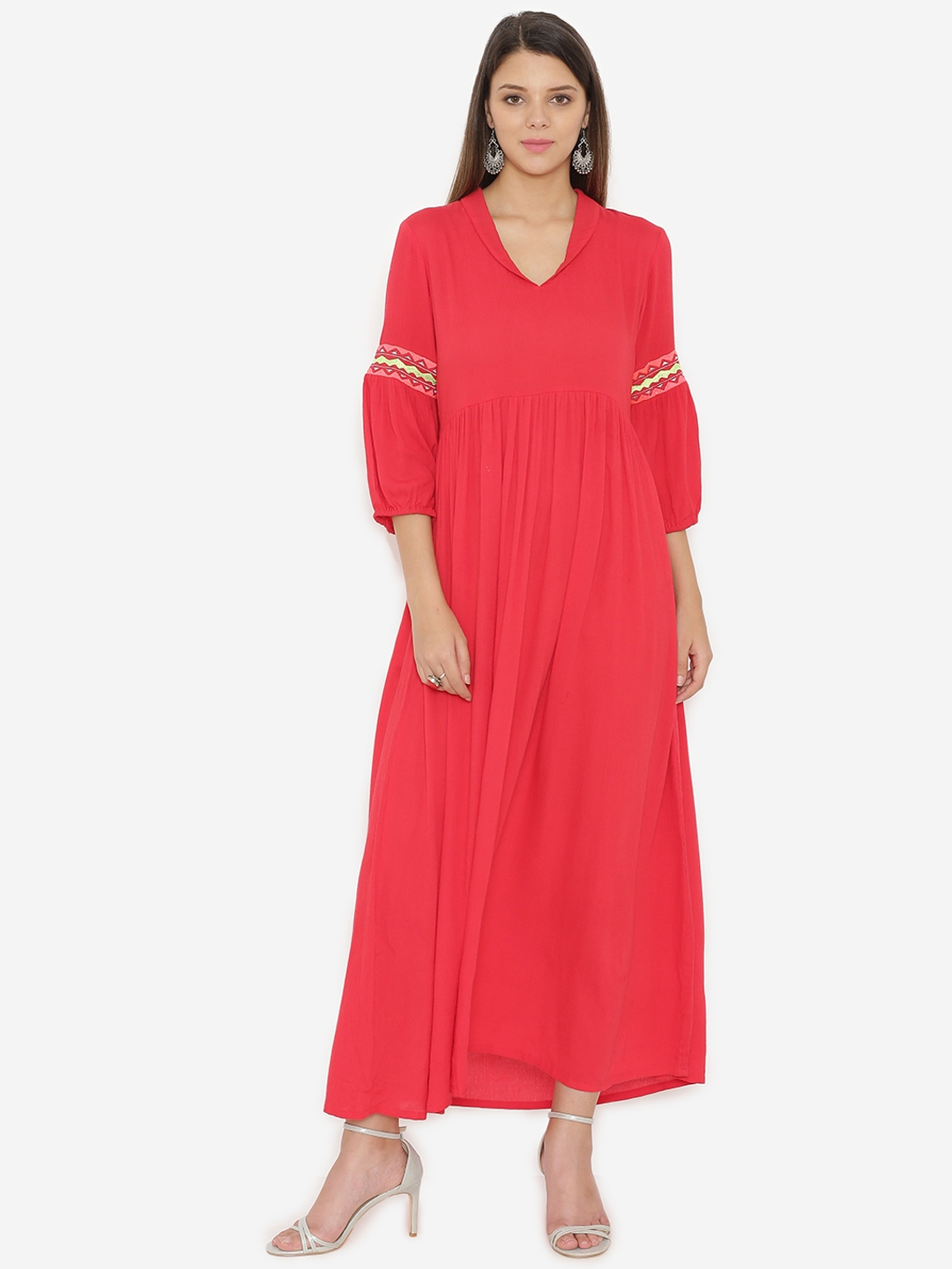 bc2d12ad63a Buy Alom Women Red Embroidered Maxi Dress - Dresses for Women ...