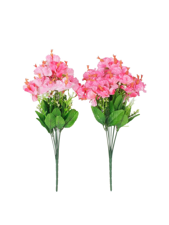 Buy Fourwalls Set Of 2 Pink Artificial Hibiscus Flower Bunches